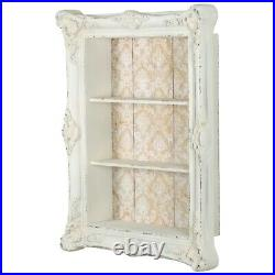 Large Ornate Frame Vintage Distressed White Wood Furniture Display Box Shelves