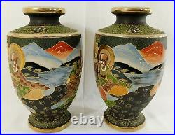 Large Pair Antique/Vtg 12.5 SIGNED Japanese Satsuma Enamel Porcelain Vases