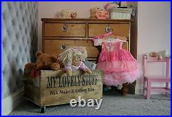 Large Personalised Wooden Toybox With Lid & Castors Vintage Style Storage