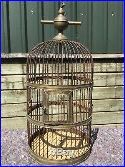 Large antique vintage brass bird cage
