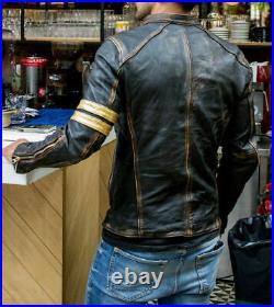 Men's Black Biker Vintage Motorcycle Distressed Cafe Racer Leather Jacket B1