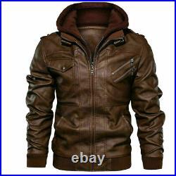 Men's Genuine Real Leather Jacket Brown Bomber Winter Hooded Jacket Coat