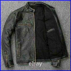 Mens Biker Motorcycle Vintage Distressed Black Faded Winter Leather Jacket
