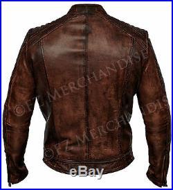 Mens Biker Vintage Antique Brown Cafe Racer Real Leather Jacket B18