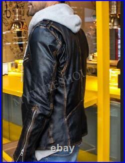 Mens Black Biker Vintage Distressed Motorcycle Cafe Racer Real Leather Jacket