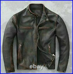 Mens Motorcycle Biker Vintage Cafe Racer Distressed Black Real Leather Jacket
