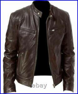 Mens Vintage Cafe Racer Black Brown Genuine Leather Slim Fit Real Biker Jacket