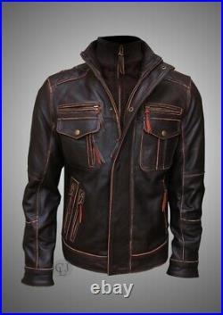 Mens Vintage Cafe Racer Distressed Brown Motorcycle Biker Real Leather Jacket
