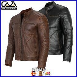 Mens Vintage Cafe Racer Genuine Leather Jacket Black Brown Slim Fit Biker Jacket
