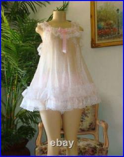 Neljen Vintage Style Baby Doll Slip Dress lots of Sissy PINK Ruffles M-2XL