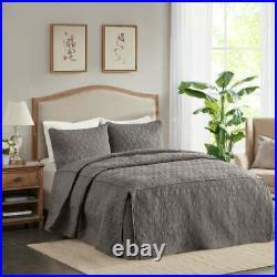 New Beautiful Elegant Chic XXL Grey Stitch Extra Large Soft Bedspread Quilt Set