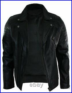 New Men's Bomber Biker Vintage Black Genuine Leather Slim fit Jacket XS-3XL B52
