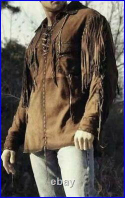 New Men's Native American Western Cowhide Suede Leather Jacket Coat(ALL SIZES)