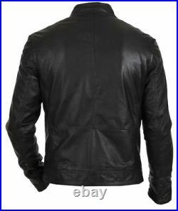 New Mens Bomber Vintage Black Genuine Leather Jacket Slim Fit Motorcycle Biker