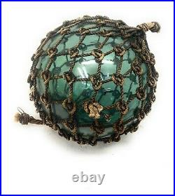 Old Authentic Large Signed Vtg Antique Glass Fishing Float Rope Buoy Ball 13-14