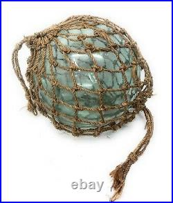 Old Authentic Large Signed Vtg Antique Glass Fishing Float Rope Buoy Ball 17-18