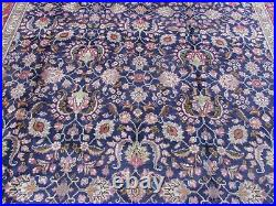 Old Hand Made Traditional Vintage Oriental Navy Blue Wool Large Carpet 389x291cm