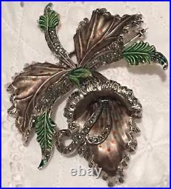 Orchid Marcasite Enamel Brooch Rhodium Plate Silver Large Vtg Art Deco Antique