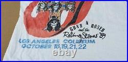 Original Vintage GUNS N ROSES & Rolling Stones LA Concert Tour 1989 T Shirt Rare