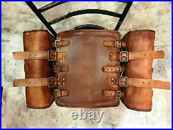 Pair Large Genuine Vintage Leather Motorcycle Saddle Two Side Bag Brown Luggage