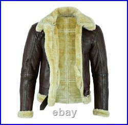 RAF Mens B3 Air Force Pilot Flying Aviator Fur Bomber Brown Leather Jacket