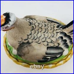 RARE GIANT LARGE Antique Vtg Staffordshire Bisque Hen on Nest 10