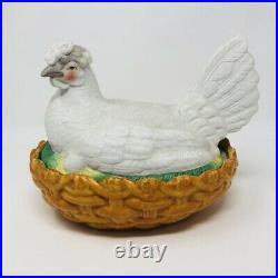 RARE GIANT LARGE Antique Vtg Staffordshire Bisque Hen on Nest 10.5