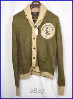 RRL Ralph Lauren Linen Shawl Beige Green Inspired Pattern Cardigan XL Extra-Larg