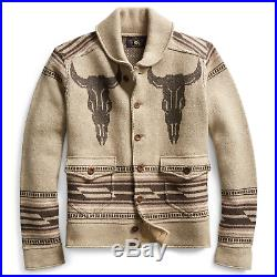 RRL Ralph Lauren Vintage Shawl Tan Beige Western Cowboy Pattern Cardigan L Large