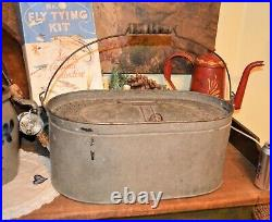 Rare Large Antique Minnow Bucket 1926 Exc Display Pop for Den Fishing Collector