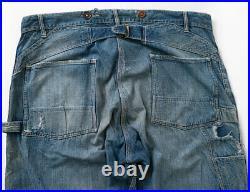 Rare True Vintage 1920s Hercules Buckle Back Denim Jeans Suspender Buttons