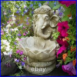 Reconstituted Stone Ganesh Birdfeeder Statue Vintage Oriental Garden Ornament