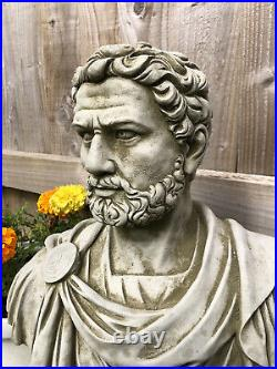 Reconstituted Stone Roman Nero Bust Statue Vintage Concrete Garden Ornament