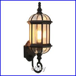 Retro Large Black Metal Lantern Clear Glass Outdoor Garden Gate Wall Lamp Sconce