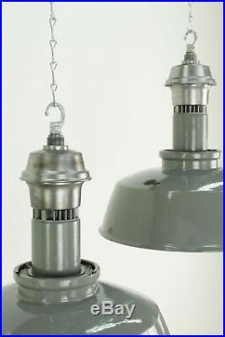 Run Of 15 Large Grey Maxlume Antique Vintage Industrial Pendant Factory Lights