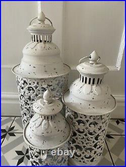 Set 3 Large White Metal Moroccan Lanterns Vintage Antique Candle Garden Indoor