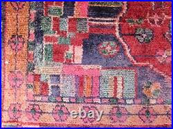 Shabby Chic Worn Vintage Hand Made Traditional Red Blue Wool Large Rug 216x117cm