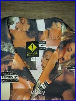 Spanish Harlem Parental Advisory Shirt Playboy Porn Sz L vintage button up rare