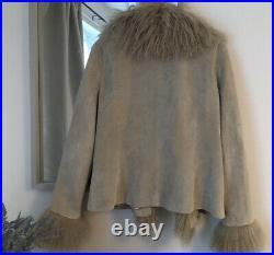 Stunning Vintage Real Suede Mongolian Fur Boho Afghan Coat Jacket Large Simone