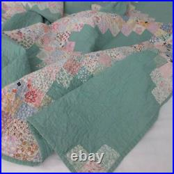 That Green! LARGE Vintage 30s Novelty Feedsack Irish Chain QUILT 100x82