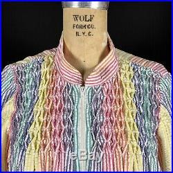 VTG 70s Saybury Technicolor Rainbow Seersucker Gingham Boho Kimono Caftan Dress