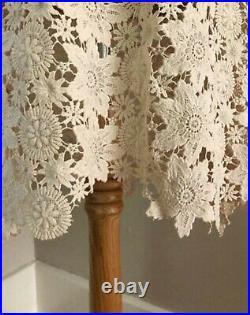 VTG BoHo Beige Cream Crochet Lace Dress Bell Sleeve 70s Hippy MiNi Wedding Dress
