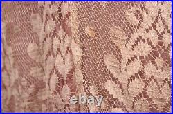 VTG Women's 20s Sheer Pink Chiffon Drop Waist Dress W Lace Sz L 1920s