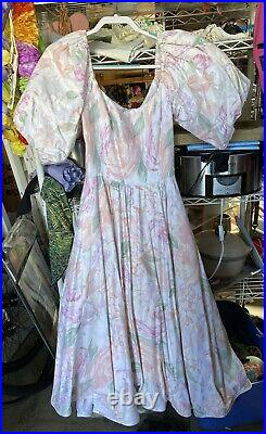 Victor Costa Dress VTG 80s Pink Floral Gown Oversized Puffy Sleeves Size Large
