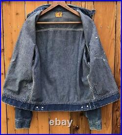 Vintage 1940s Cant Bust Em Gold Label Denim Chore Jacket Union Made