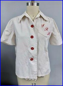 Vintage 1940s WW2 Womens Blouse Monogram GRH Red Buttons Large USO War Cotton