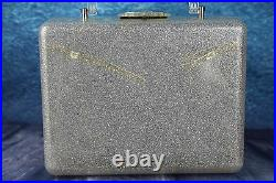 Vintage 1950s Silver Glitter Clear Confetti Lucite Large Box Bag Floral Panel