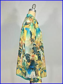 Vintage 1960s-70s 70's Art Nouveau painted graphic print Nylon Mens disco Shirt