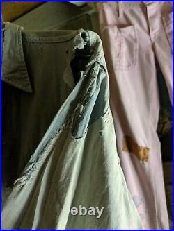 Vintage 30s 40s Calf Skin Denim Chambray Distressed Work Chore Shirt repairs