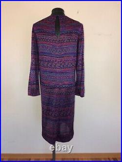 Vintage 70s Halston Purple Silk Shift Caftan Dress Large